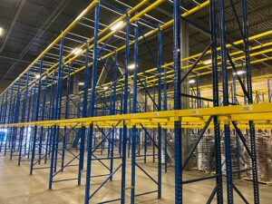 used blue and yellow pallet rack